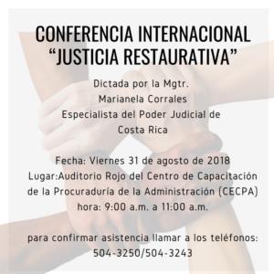 """Invitación a Conferencia Internacional: """"Justicia Restaurativa"""""""