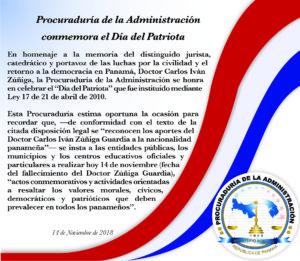 Procuraduría de la Administración conmemora el Día del Patriota