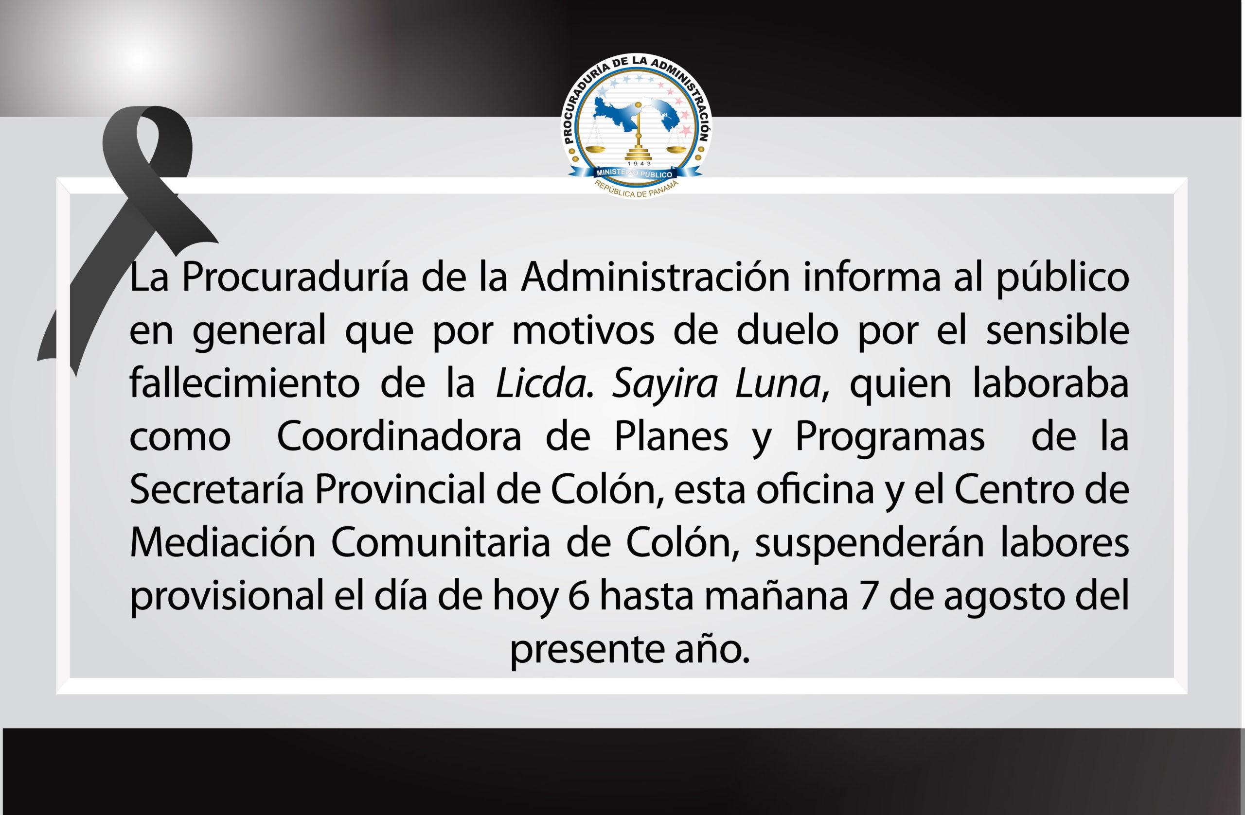 La Procuraduría de la Administración lamenta el fallecimiento del Licda. Sayira Luna