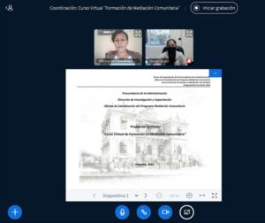 "Reunión de coordinación – diseño de la programación curricular, Curso virtual ""Formación en Mediación Comunitaria"""