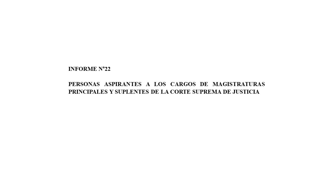 Informe n°22 Personas aspirantes a los cargos de magistraturas principales y suplentes de la Corte Suprema de Justicia