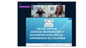 """Taller virtual """"Justicia restaurativa y reconstrucción social – experiencia de Colombia"""""""