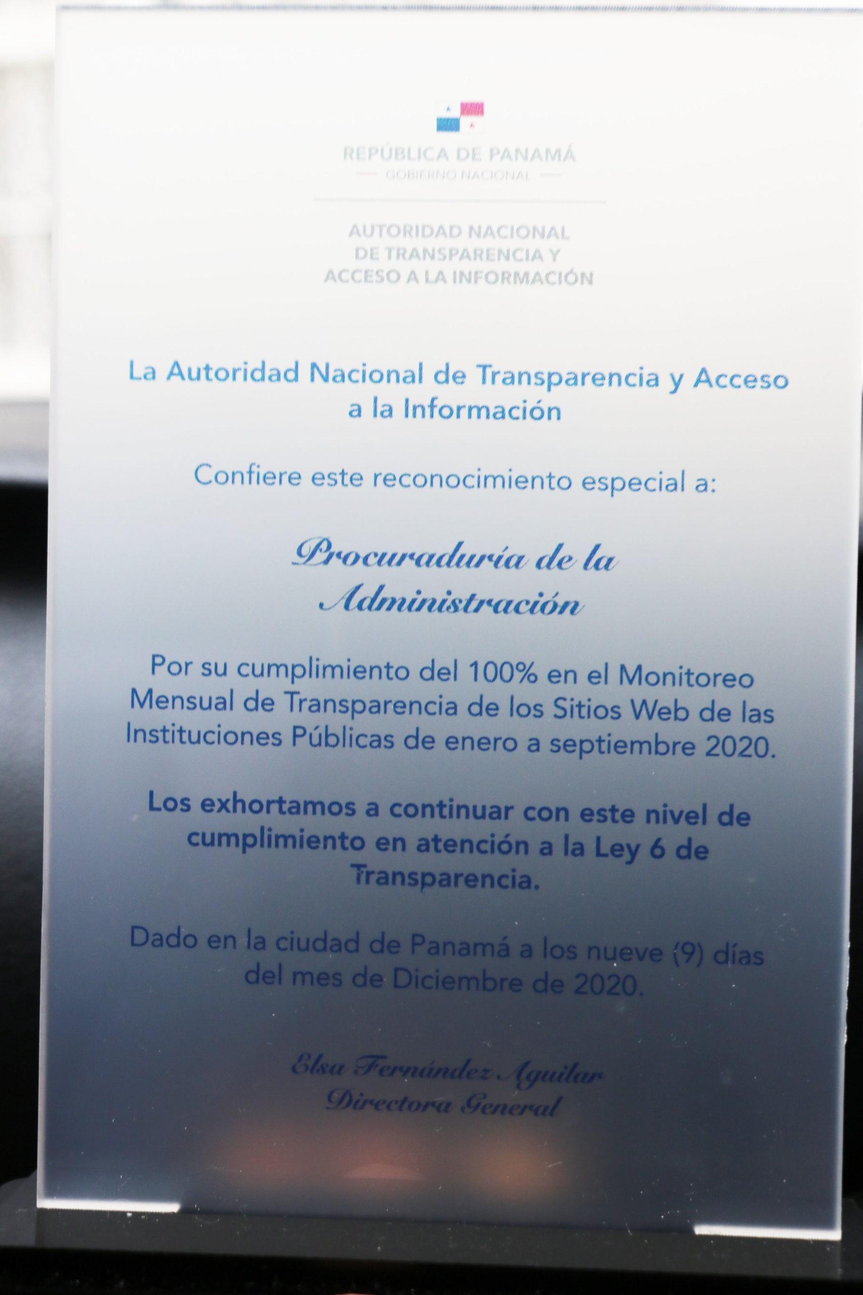 Lee más sobre el artículo ANTAI reconoce compromiso de la Procuraduría de la Administración en materia de transparencia.